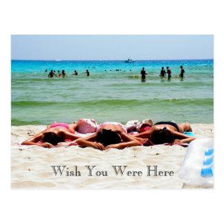 Deseo que tomaba el sol de los chicas usted estaba tarjetas postales