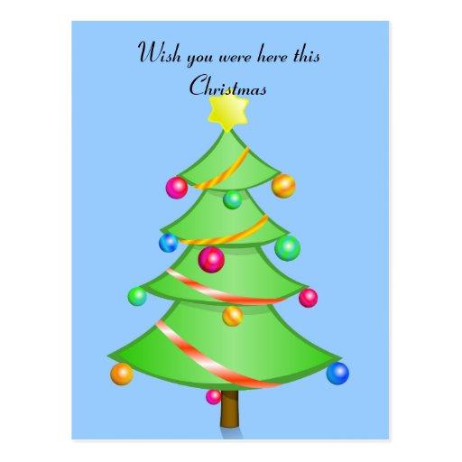 Deseo usted estaba aquí esta postal del navidad