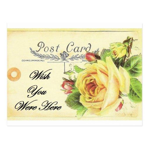 Deseo usted estaba aquí postal del rosa amarillo d