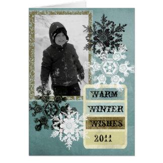 Deseos calientes del invierno tarjeta de felicitación