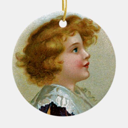 Deseos calurosos del navidad adorno navideño redondo de cerámica