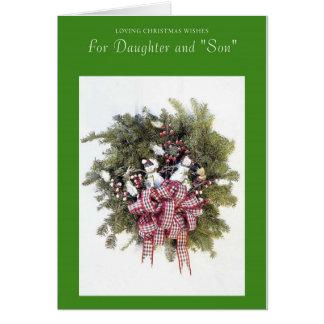 Deseos cariñosos del navidad para la hija y el hij felicitacion