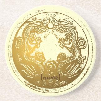 Deseos chinos de oro apenados de la prosperidad posavasos manualidades