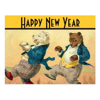 Deseos de baile de los Años Nuevos de los osos Postal