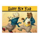 Deseos de baile de los Años Nuevos de los osos Tarjeta Postal
