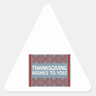 Deseos de la acción de gracias pegatina triangular