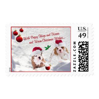 Deseos de la escena de la nieve del navidad de los sello postal