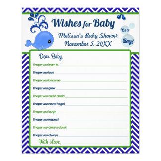 """Deseos de la fiesta de bienvenida al bebé de la ba folleto 4.5"""" x 5.6"""""""