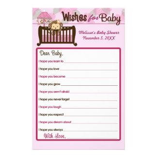 Deseos de la fiesta de bienvenida al bebé del mono tarjetas informativas