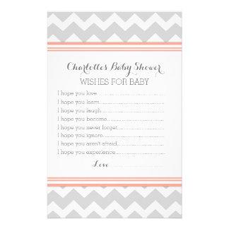 Deseos de la fiesta de bienvenida al bebé para el papelería