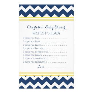 Deseos de la fiesta de bienvenida al bebé para el papelería de diseño