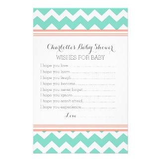 Deseos de la fiesta de bienvenida al bebé para el papelería personalizada
