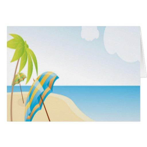 Deseos de la playa tarjeta de felicitación