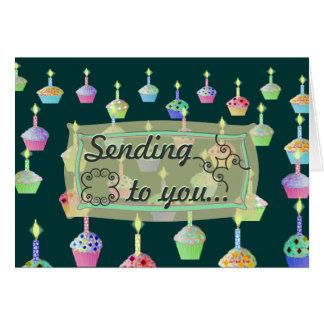 Deseos de la vela del cumpleaños de la magdalena tarjeta de felicitación