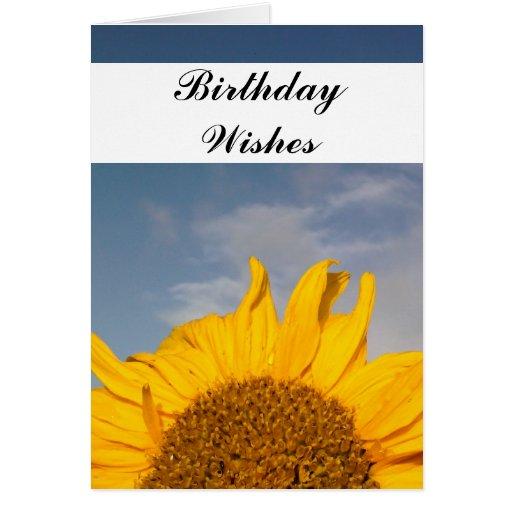 Deseos de levantamiento del cumpleaños del girasol tarjeta de felicitación