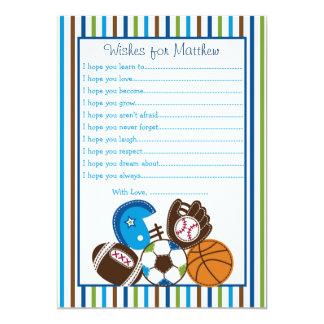 """Deseos de los deportes para las tarjetas del bebé invitación 5"""" x 7"""""""