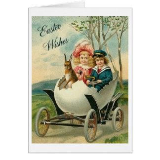 ¡Deseos de Pascua del vintage!  Tarjeta de pascua
