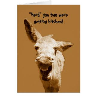 Deseos de risa del boda del burro tarjeta de felicitación