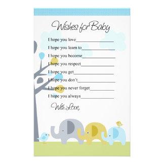 Deseos del amor del elefante para la letra del beb papelería personalizada