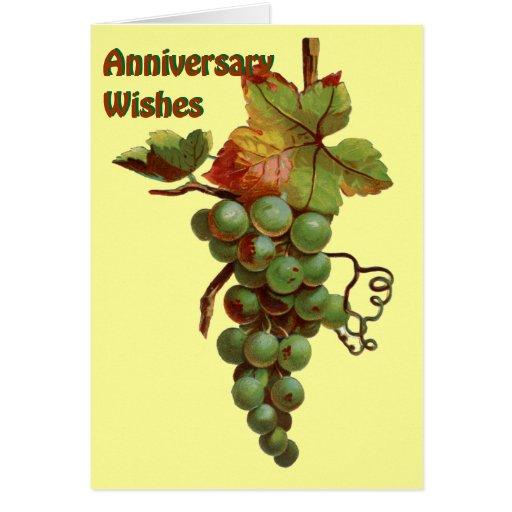 Deseos del aniversario, crema tarjeta de felicitación