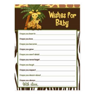 Deseos del bebé y de la mamá de la jirafa para las postal