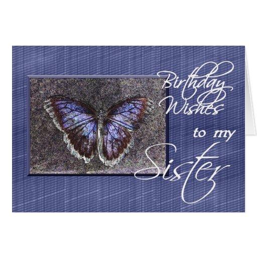 Deseos del cumpleaños a mi mariposa Hermana-Azul Felicitación
