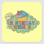 Deseos del cumpleaños colcomanias cuadradass