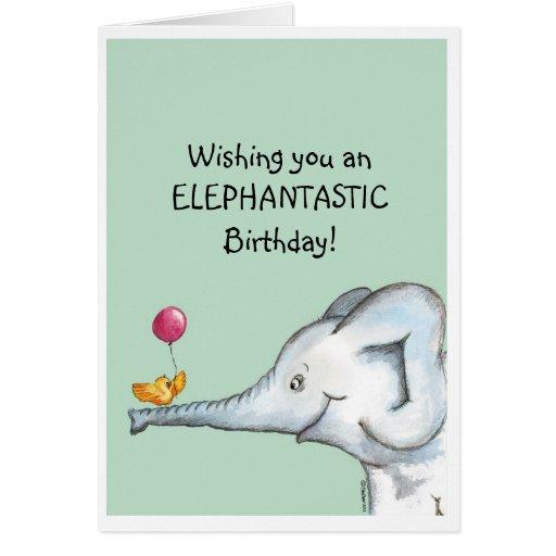 Deseos del cumpleaños de Elephantastic Tarjeta De Felicitación