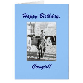 Deseos del cumpleaños de la vaquera y del potro de tarjeta