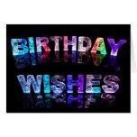Deseos del cumpleaños en foto de las luces felicitacion