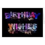 Deseos del cumpleaños en foto de las luces tarjeta pequeña