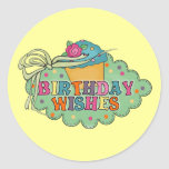 Deseos del cumpleaños etiqueta redonda