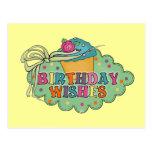 Deseos del cumpleaños tarjeta postal