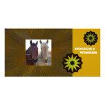 Deseos del día de fiesta de los caballos tarjeta fotografica