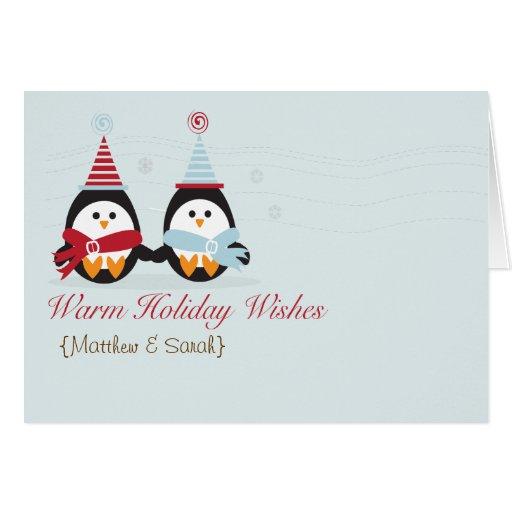 ¡Deseos del día de fiesta del pingüino! Tarjeta de
