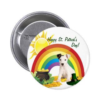Deseos del día de Jack Russell Terrier St Patrick Pin Redondo De 2 Pulgadas