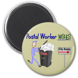 Deseos del empleado de correos--Divertido Imán Redondo 5 Cm