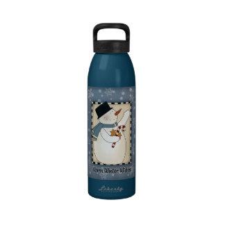Deseos del muñeco de nieve del invierno del navida botella de agua reutilizable