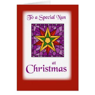 Deseos del navidad a la monja tarjetón