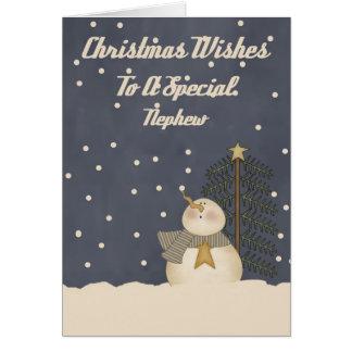 Deseos del navidad a un sobrino especial tarjeta de felicitación