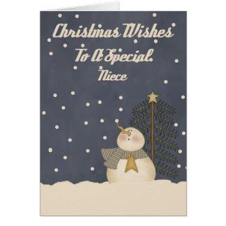 Deseos del navidad a una sobrina especial tarjeta de felicitación