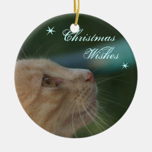 Deseos del navidad adorno redondo de cerámica