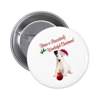 Deseos del navidad de Jack Russell Pin Redondo De 2 Pulgadas