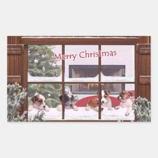 Deseos del navidad de Jack Russell que saludan al Rectangular Pegatina