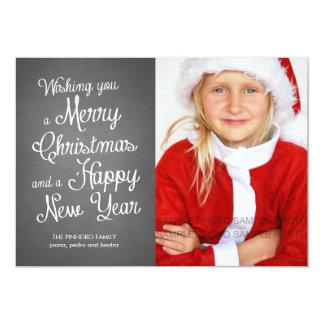 """Deseos del navidad de la foto del día de fiesta de invitación 5"""" x 7"""""""