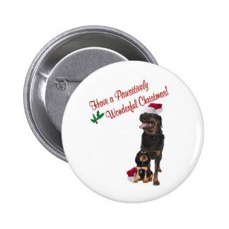 Deseos del navidad de Rottweiler Pin Redondo De 2 Pulgadas