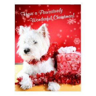 Deseos del navidad de Terrier blanco de montaña de Postales