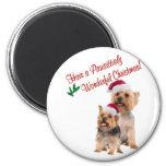 Deseos del navidad de Terrier sedoso Imán Para Frigorifico