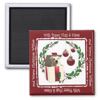 Deseos del navidad de Westie Imán Cuadrado