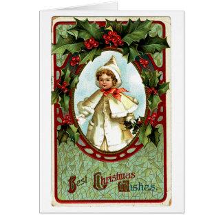 Deseos del navidad del niño del Victorian Tarjeta De Felicitación